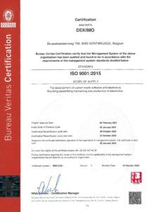 ISO9001:2015 certificate Dekimo page 1