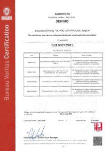 ISO9001:2015 certificate Dekimo page 2