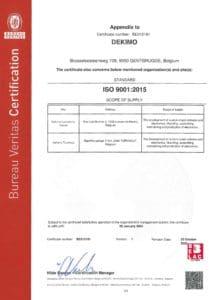 ISO9001:2015 certificate Dekimo page 3